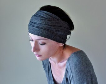 CHARCOAL GRAY Head Scarf, Extra Wide Headband for Women, Turban Headband, Yoga Head Wrap, Grey Head Scarf, Jersey Turban Head Wrap