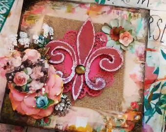 Pink Fleur de lis original mixed media artwork