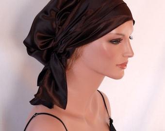 Silk Charmeuse Tichel, Espresso Hair Snood, Head Covering Scarf Bandana, Chemo Wrap, Sinar or Apron Tichel, Jewish Head covering