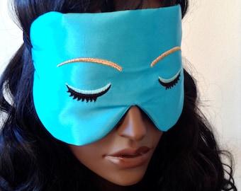 Silk Eye Mask Sleep Mask, Audrey Hepburn Style, Holly Golightly, Fully Adjustable Velvet Elastic, Padded & Light Darkening, Anti-Aging