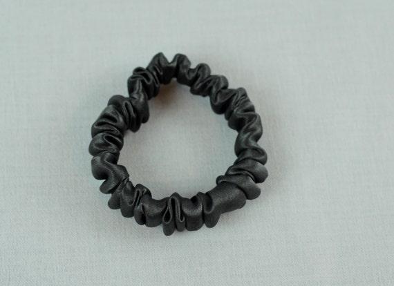 Silk Skinny Scrunchie Pewter Charmeuse Thin Hair Tie Hair  ce78cf306a0