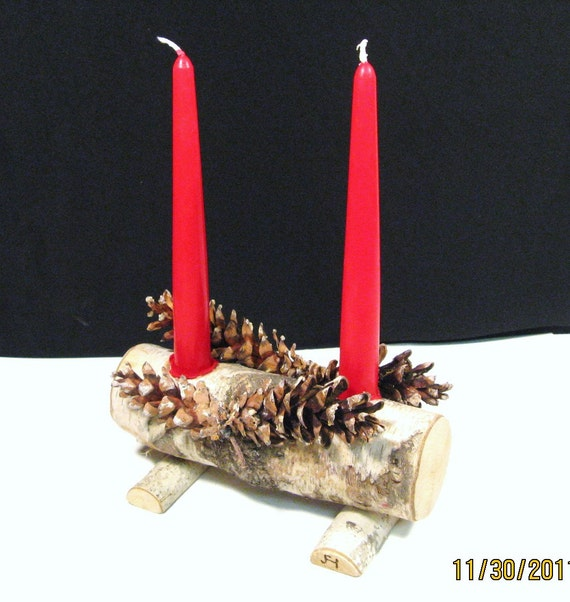 image 0 - Christmas Log Candle Holder Decorations