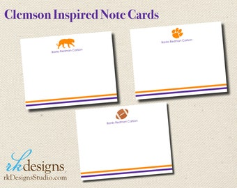 Clemson Inspired Note Cards - Orange and Purple Note Cards - Fun Boy Stationery - Mix and Match Design Options