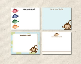 Monkey Notecards - Choose Your Designs for a Special Boy, Monkey Thank You, Monkey Baby Shower, Stationery