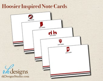 Indiana Hoosiers Inspired Note Cards - Crimson and Cream Note Cards - Fun Boy Stationery - Mix and Match Design Options
