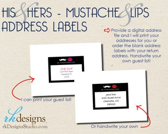 Lips & Mustache - His and Hers - Address Labels - Perfect for Party Invitations