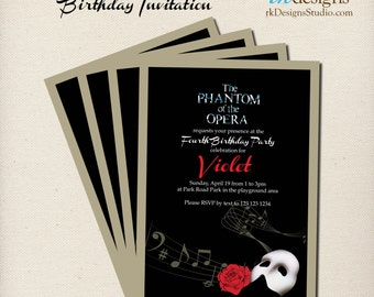 Phantom of the Opera Party Invitation and Envelope - Personalize with or without a Photo - Kid or Adult Birthday