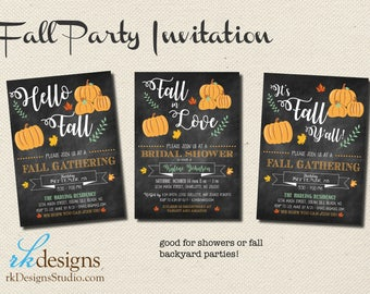Fall Party Invitation - Chalkboard & Pumpkins - Bridal Shower - Fall Gathering - Fall Backyard Party - Birthday Party - Autumn Housewarming