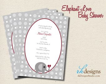 Elephant Love Baby Shower Invitation - Perfect for the Alabama Grad