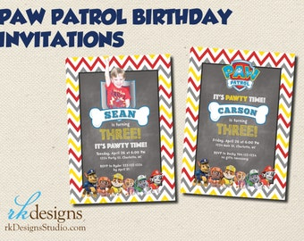 Paw Patrol Birthday Invitation - Invitation and Envelope - Kid's Birthday, Dog, Puppy, With or Without Picture