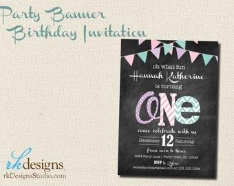First Birthday Invitation - (with Envelope) - Chalkboard, Kid's Birthday, One, Banner, Pink, Purple, Turquoise, Chalkboard, Girl's Birthday