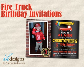 Fire Truck Birthday Invitation - Invitation and Envelope - Kid's Birthday, Firehouse, Firetruck, With or Without Picture, Colorful
