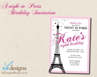 Night in Paris Birthday Invitation - Invitation and Envelope - Kid's Birthday, French, Eiffel Tower, Pink and Black, Girl's Birthday