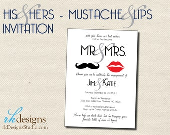 Mustache & Lips - His and Hers - Couples Shower or Engagement - Wedding Shower