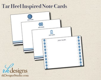 Tar Heel Inspired Note Cards - North Carolina Note Cards - Fun Boy or Graduation Stationery - Mix and Match Design Options