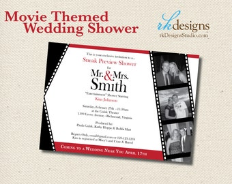 Movie Themed Wedding Shower - Invitation and Envelope - Entertainment Theme Bridal or Couples Shower