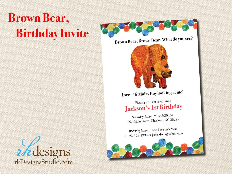Brown Bear Brown Bear Eric Carle Kids Birthday Party   Etsy