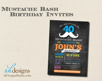 Mustache Bash Birthday Invitation - Neon or Red/Blue Color Options on a Chalkboard Background