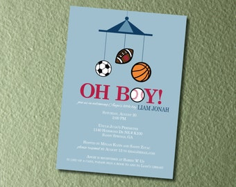 Oh Boy! Sports Themed Baby Shower Invitations & Envelopes - Customize to Your Own Team!