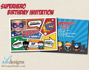 Superhero Birthday - Invitation and Envelope - Kid's Birthday, Comic Book, Super Heroes, With or Without Picture