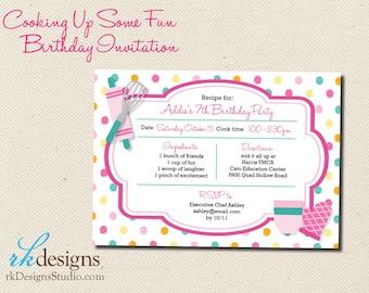 Cooking Birthday Invitation - Invitation and Envelope - Kid's Birthday, Chef, Polka Dot, Pink, Turquoise, Girl's Birthday