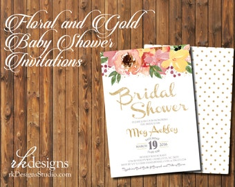 Floral and Gold Glitter Bridal Shower - Watercolor Flowers - Polka Dot Gold