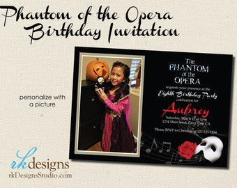 Phantom of the Opera Party - DIGITAL INVITATION - DIY - Customize with or without Photo - Kid or Adult Party Theme