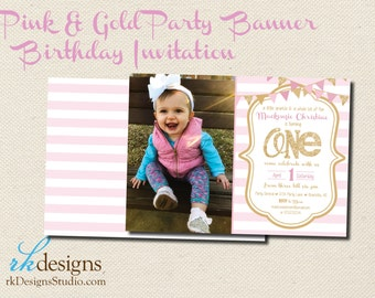 Pink and Gold First Birthday Invitation - (with Envelope) - Kid's Birthday, One, Banner, Pink, Gold, Girl's Birthday, Photo, picture
