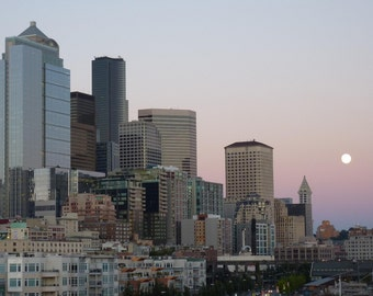 Seattle Skyline with a Full Moon Photograph 8x10