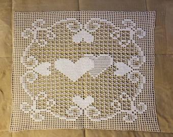 "29 x 24"" handmade crochet cotton doily"