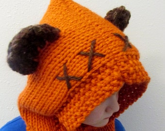 Ewok inspired hood with fuzzy ears hand knit Star Wars gift, Furry Forest Friend, choose your color, winter hat, cowl, ski, snowboard
