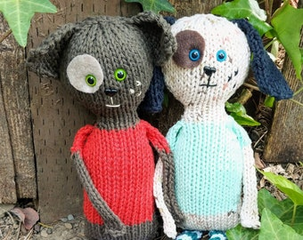 PATTERN ONLY: Ruby & Rufus- puppy cousins! Dog hand knit plushie pet, easy DIY doggie doll, Instant Download, knitting gifts, learn to knit
