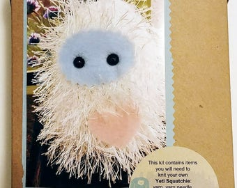 Knit your own Yeti Squatchie Kit - DIY with pattern and knitting needles, yarn, cute bigfoot stitch marker, eyes, etc!  Great knitter gift