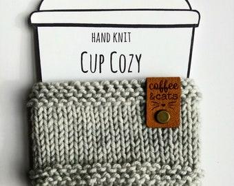 COFFEE & CATS mug hug Reusable hand knit coffee cozy sleeves, java cosy, tea jacket, cup sweater gray or purple