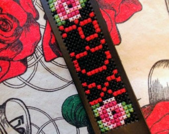 Rose City Portland PDX cross stitch cuff *pattern only!!!* stitchable DIY bracelet DMC faux leather cuff cruelty free