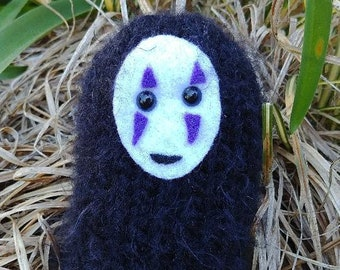 Knitting PATTERN - DIY knit your own No Face!!  Studio Ghibli inspired little stuffed japanese anime friend
