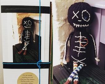 Knit KIT - Jasper the Skeleton - DIY pattern, knitting needles, yarn, stuffing, etc.  Unique geek knitter gift, do it yourself craft