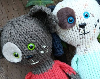 Knit KIT - Ruby & Rufus Puppy Dog - DIY pattern, knitting needles, yarn, stuffing, etc.  Unique pet lover knitter gift, do it yourself craft