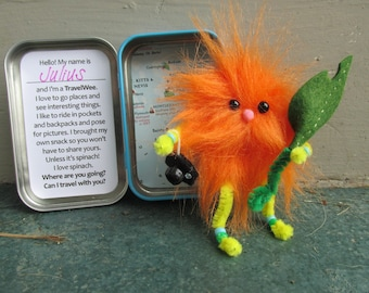 """Travel Wee """"Julius""""- Hand stitched orange travelling buddy, tin fits in a pocket, geocache prize, travel photo companion!"""