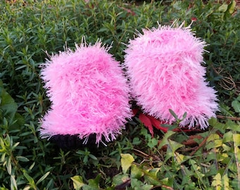"""Hand knit pink baby """"Uggs"""". Fuzzy soft newborn booties. Mukluks, boots, bunny rabbit, monster, bear, kitty, party shoes, baby shower gift"""