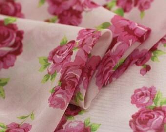 sweet rosy rose green leaf  chiffon fabric one yard dress