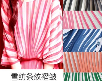 Multicolors Double Colors Stripe Pleated Chiffon ,Dress Skirt Designer Fabric ,Pink Green Blue Black White Pleated Chiffon By The Yard