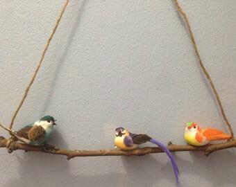 Birds on a Branch Bird Decor Nursery Kids Room Porch Decoration Bird Wall Decor Hanging