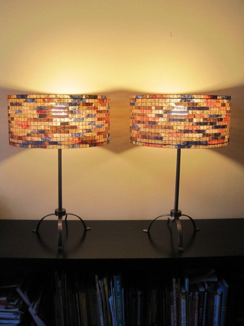 Pair of lamps Set of TwoTable Lamp Lampshade Lampada Coffee image 0