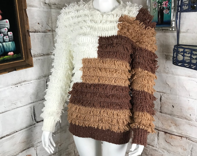 Vintage 80s Shaggy Geometric Striped Loop Knit Chunky Sweater S/M Open Knit Vtg 1980s Small Medium Stripe