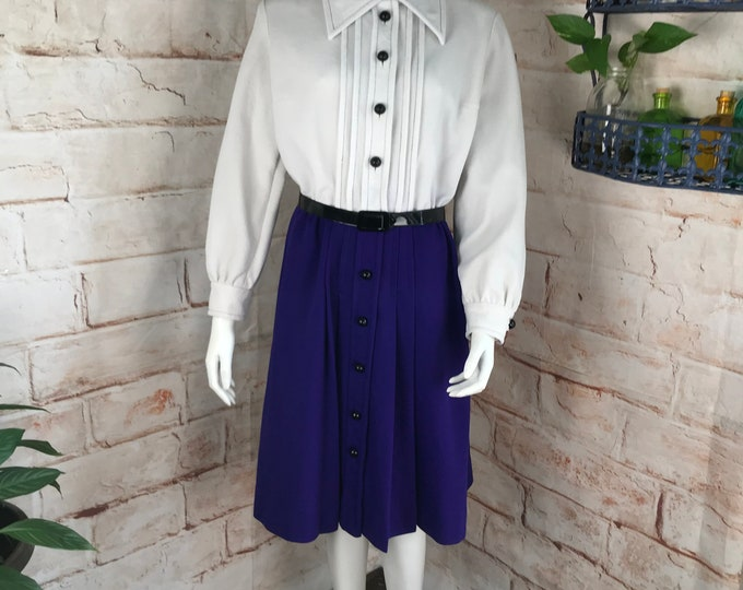 Vintage 60s 70s Two Tone Mod L Large Textured Double Knit Polyester Dress shift Pretaporte purple white shirtwaist shirt waist