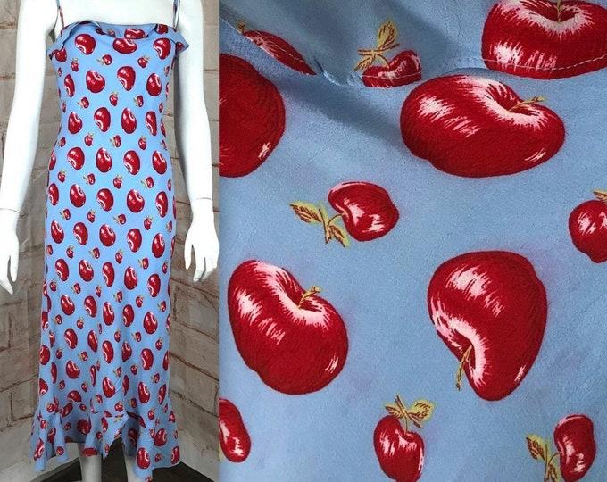 Vintage 90s Betsey Johnson New York Cherries Apples XS/S Fruit Novelty Slip Midi Dress 1990s