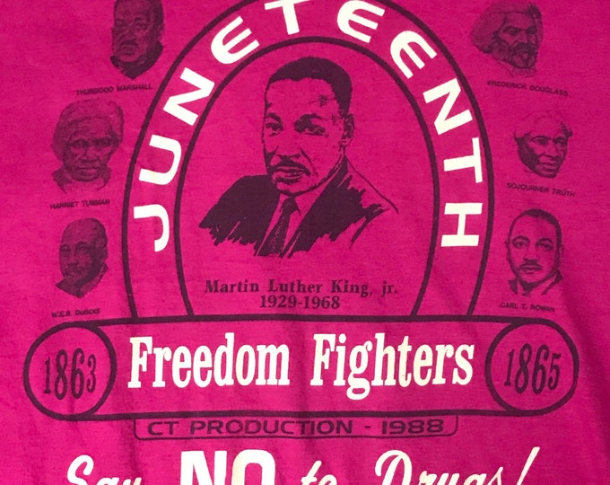 Vintage 80s Martin Luther King Jr. MLK Juneteenth Freedom Fighters Single Stitch T Shirt 1980s 1988 unisex Mens Womens M Medium