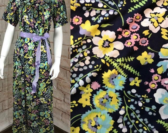 Vintage 70s Sears Hawaiians Loungers S/M Floral Maxi Caftan Dress Hostess Muumuu 1970s Lounge