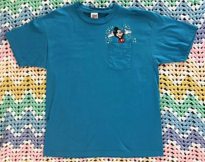 Vintage 90s Anvil Mickey Mouse Embroidered Pocket T Shirt XL Single Stitch
